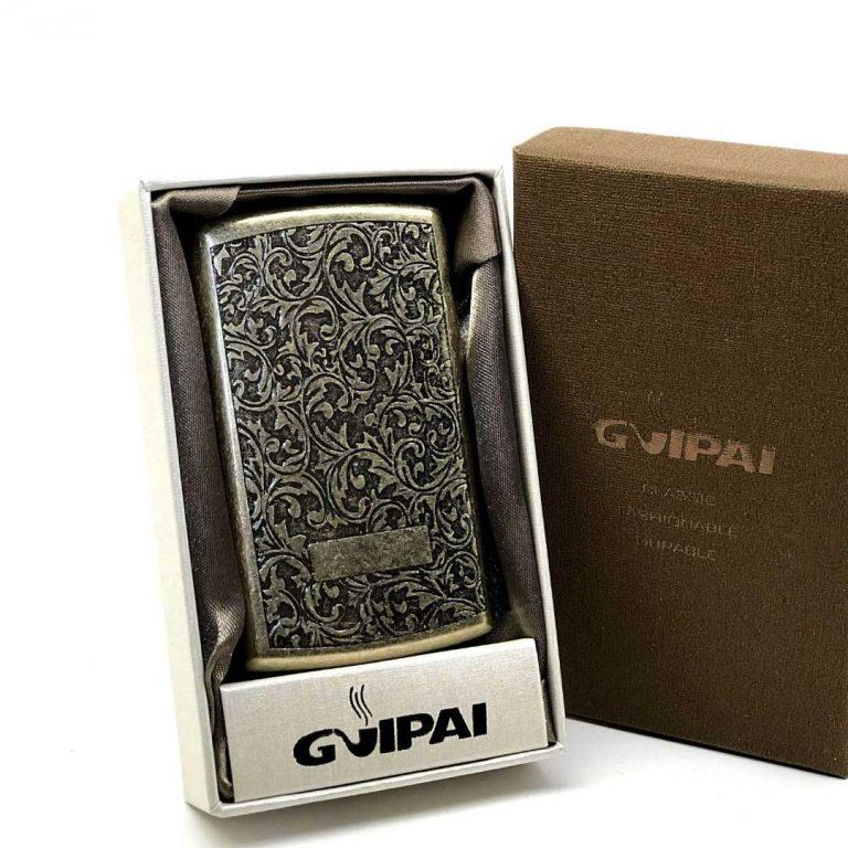 جعبه سیگار فلزی برنزی Guipai مدل نقش ریز
