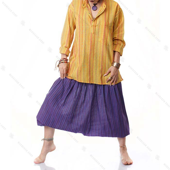 پیراهن سنتی هیپی استایل زرد لیمویی – Kurta Lemon Yellow Shirt