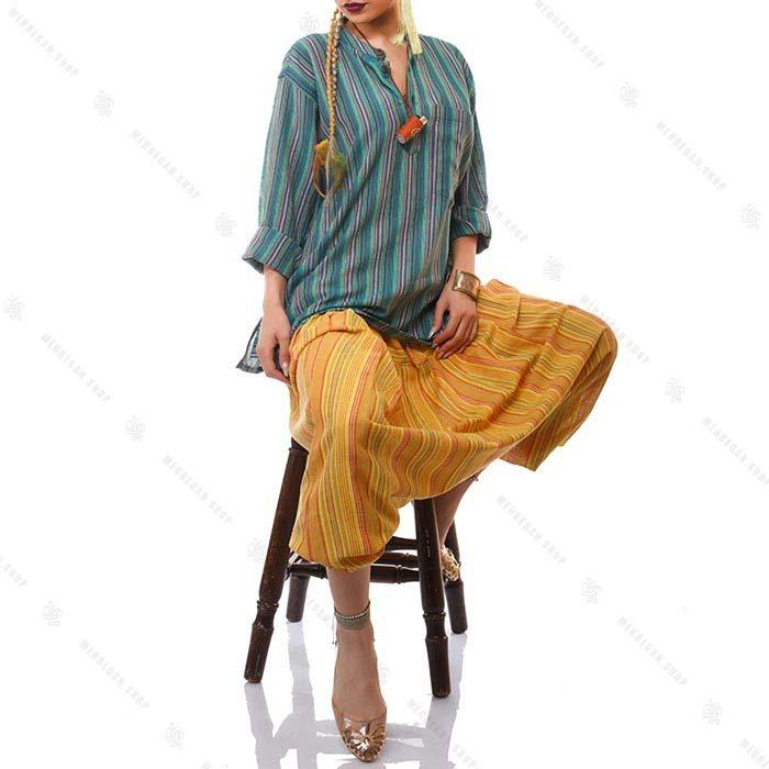 پیراهن سنتی هیپی استایل سبز زیتونی – Olive Kurta Shirt