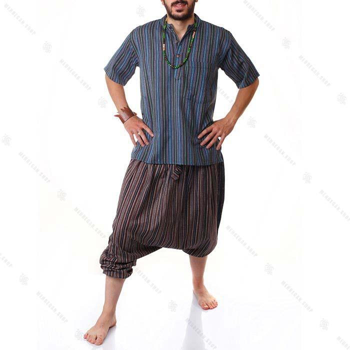بلوز هیپی استایل سنتی آبی درباری – Kurta King Blue Shirts