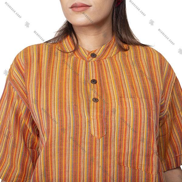 پیراهن سنتی هیپی استایل نارنجی – Orange Kurta