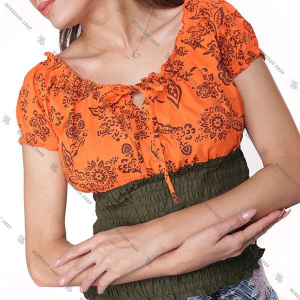 تاپ زنانه بهاره هیپی استایل نارنجی با تنالیته