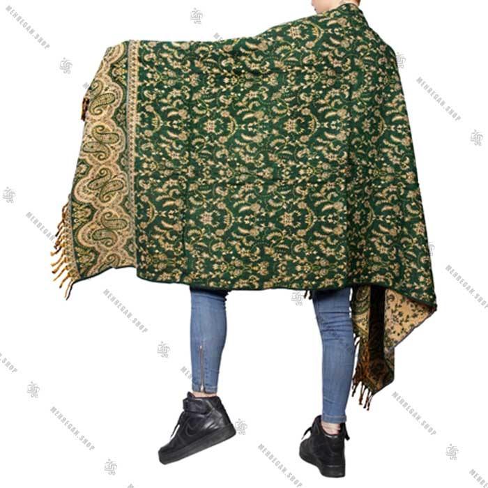 رودوشی و رویه لباس طرح بته جقه سبز