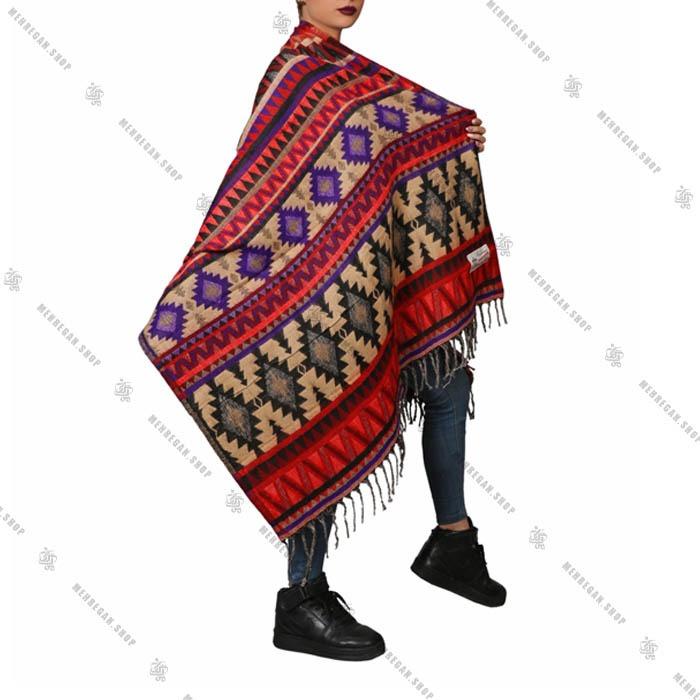 شال رودوشی و رویه لباس طرح لوزی