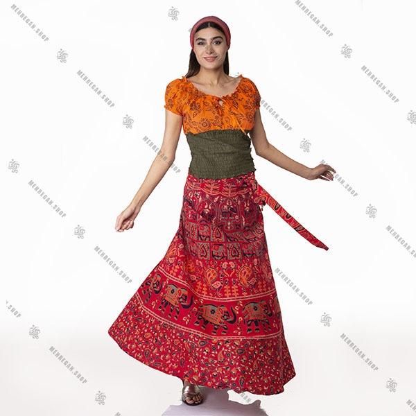 دامن طرح دار سنتی قرمز