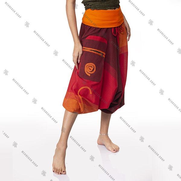 شلوار نپالی جیب دار سبک و خنک نارنجی قرمز