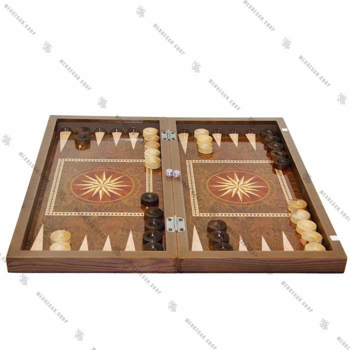 تخته نرد چوبی و صفحه شطرنج سه لایه
