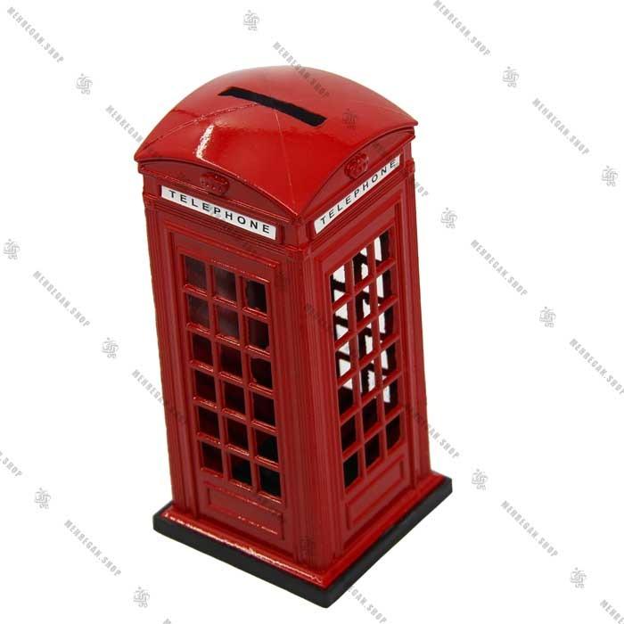 قلک فلزی دکوری طرح باجه تلفن انگلیسی