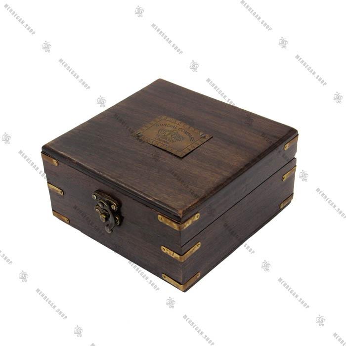 زاویه یاب دریایی برنجی با جعبه چوبی