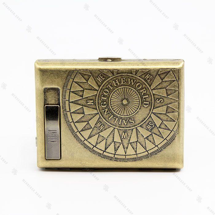 جعبه سیگار برنزی به همراه فندک المنتی