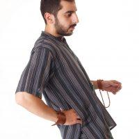 پیراهن سنتی آستین کوتاه نقره آبی - Steel Blue Kurta Shirt