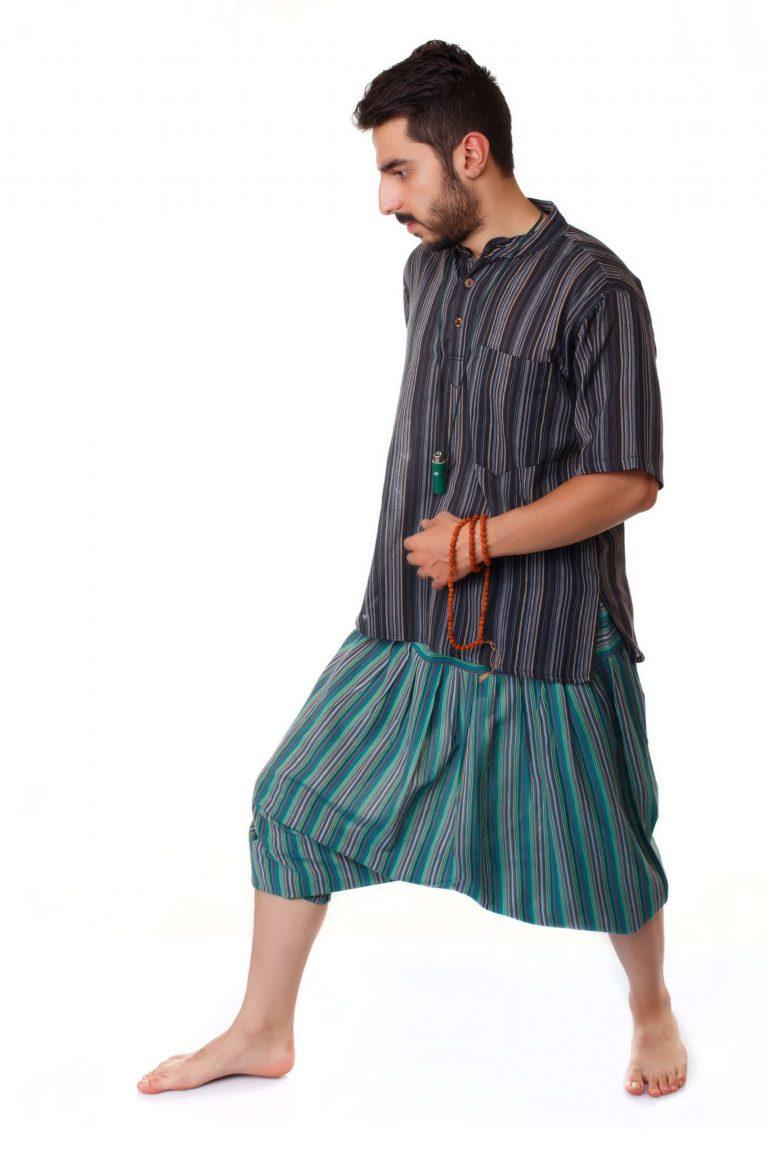 پیراهن سنتی آستین کوتاه نقره آبی – Steel Blue Kurta Shirt