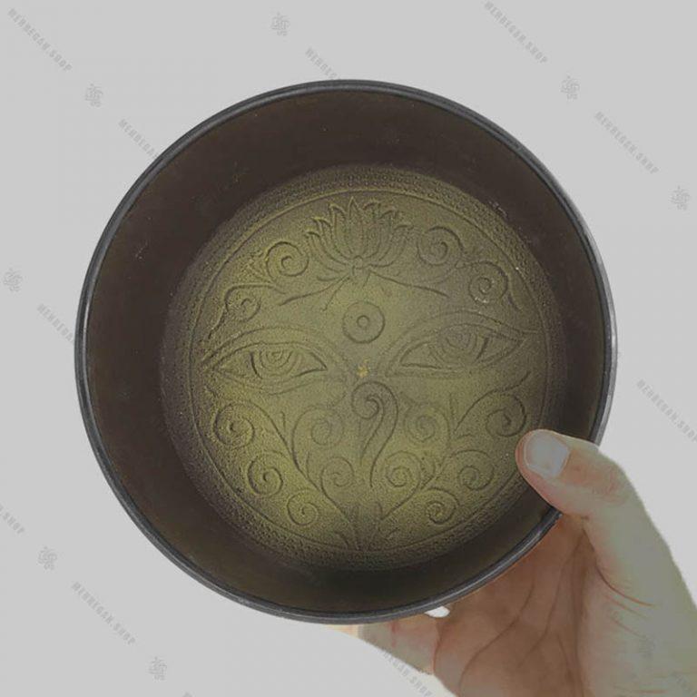 کاسه تبتی هفت فلز زرد در سایز بندی