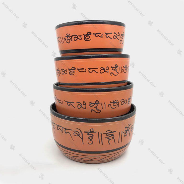 کاسه تبتی هفت فلز نارنجی در سایز بندی