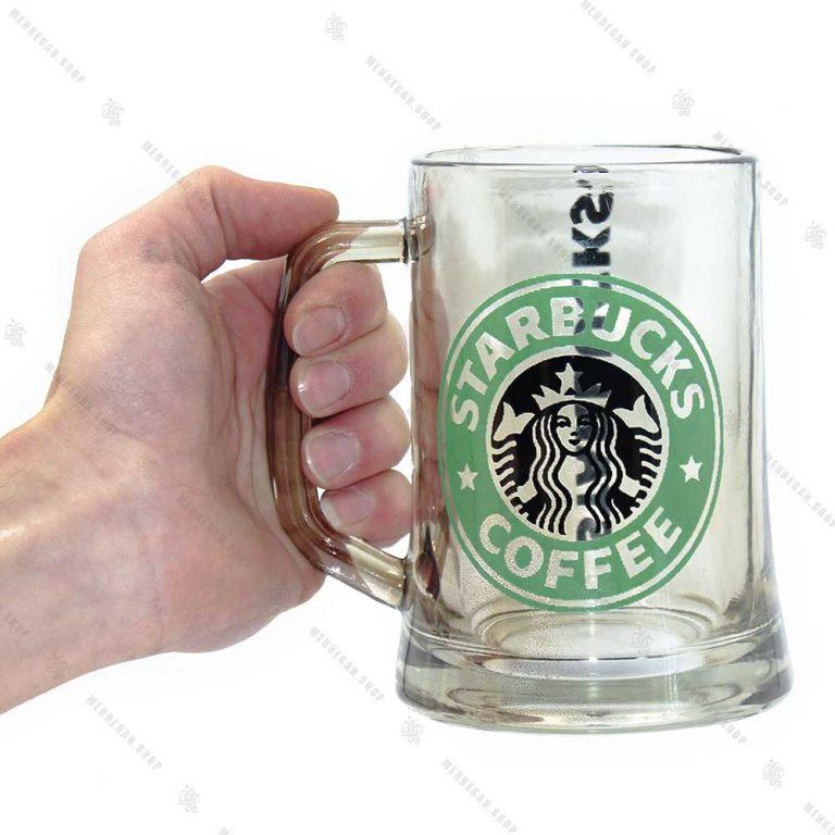 ماگ شیشه ای بلند طرح شفاف Star Bucks