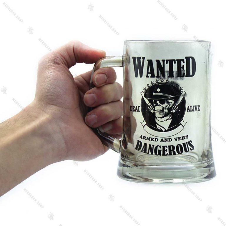 ماگ شیشه ای بلند طرح جمجمه و تفنگ