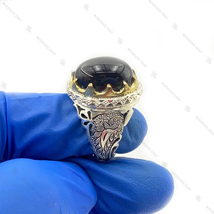 انگشتر عقیق سیاه دست ساز