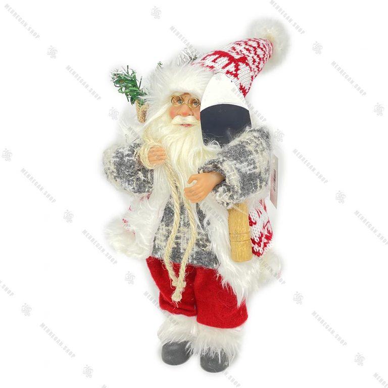 عروسک بابانوئل پلیور طوسی سایز کوچک