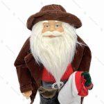 عروسک بابانوئل با پالتو جیر قهوه ای