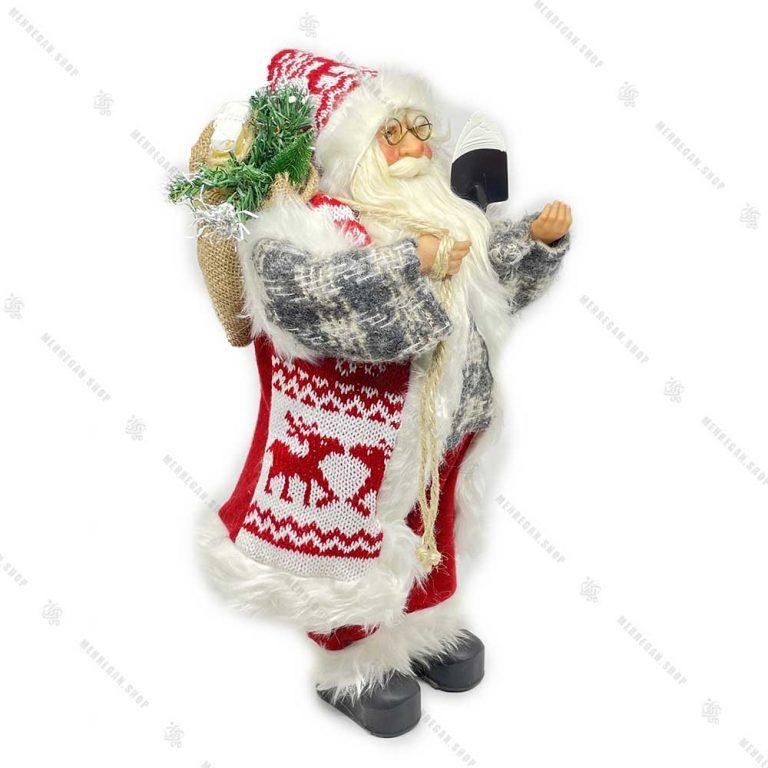عروسک بابانوئل پلیور طوسی سایز بزرگ