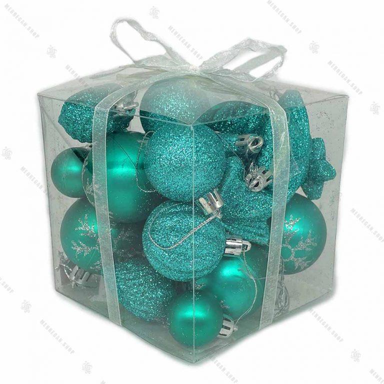 پکیج مربعی اویز کریسمس آبی نیلی