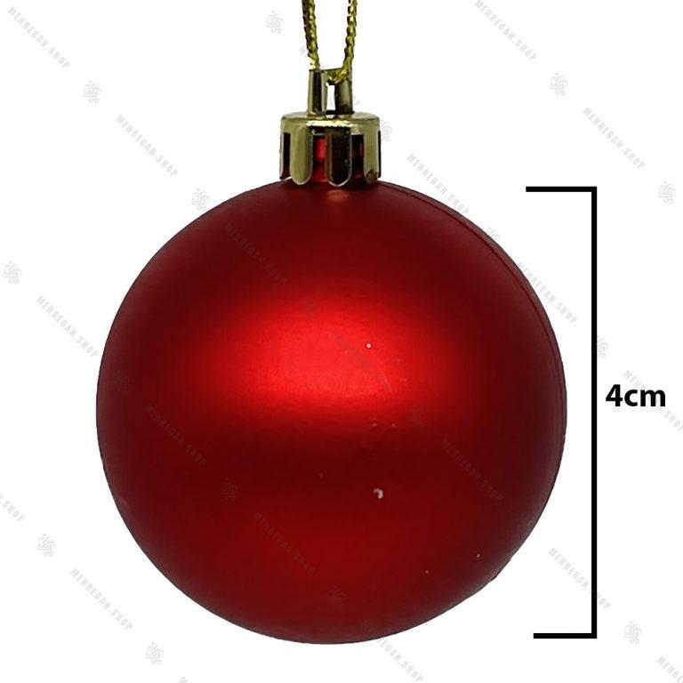 گوی آویز ساده کریسمسی قرمز مات