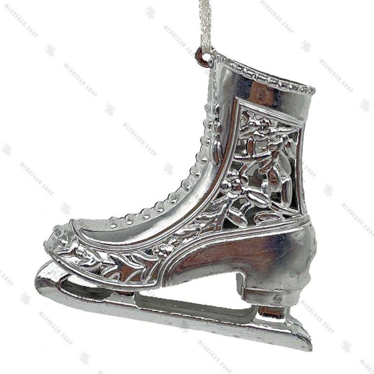 تک آویز کریسمس مدل کفش پاتیناژ نقره ای