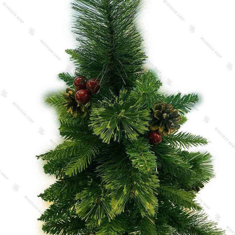 درخت کریسمس مدل برگ سوزنی تزیین شده