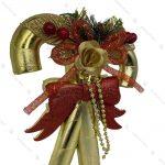 آویز کریسمس مدل عصا و پاپیون طلایی