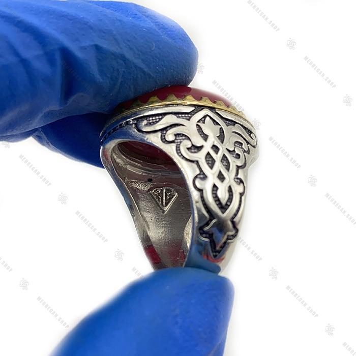 انگشتر نقره دست ساز ساده عقیق سرخ