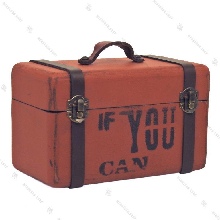 جعبه چوبی دکوری بسیار کوچک طرح چمدان نارنجی