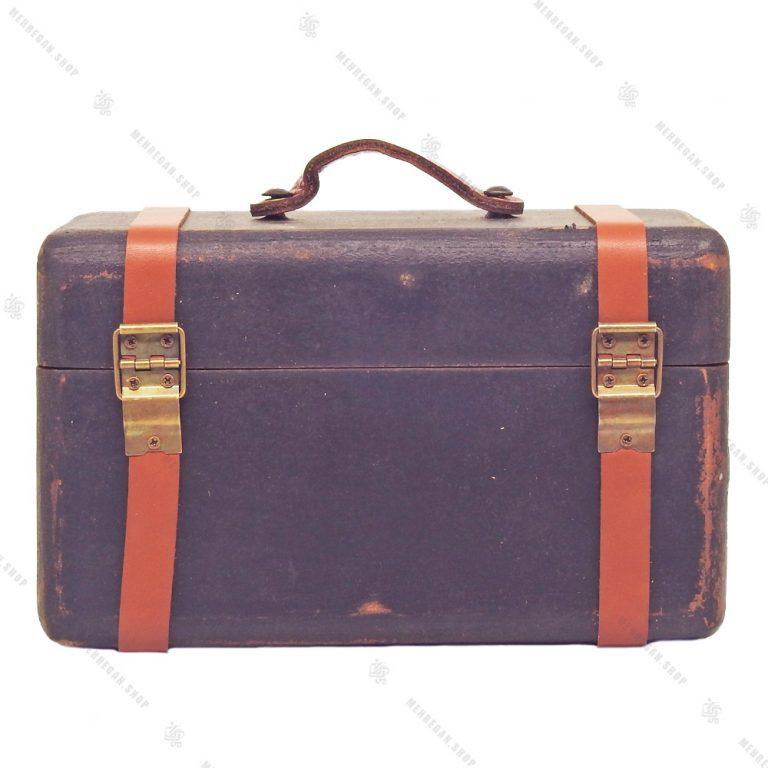 چمدان چوبی دکوری بسیار کوچک سرمه ای