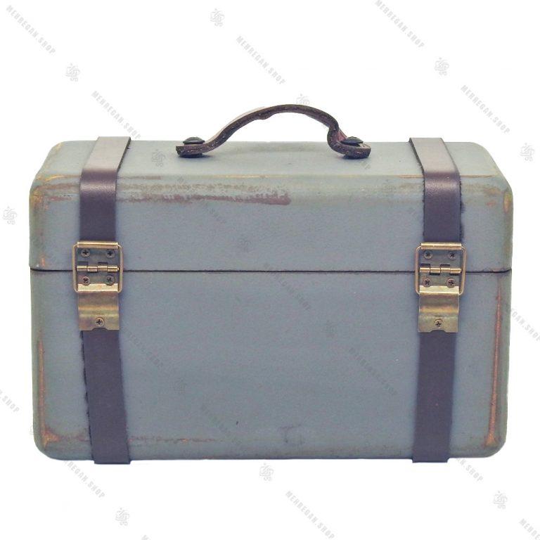 چمدان چوبی دکوری بسیار کوچک طوسی