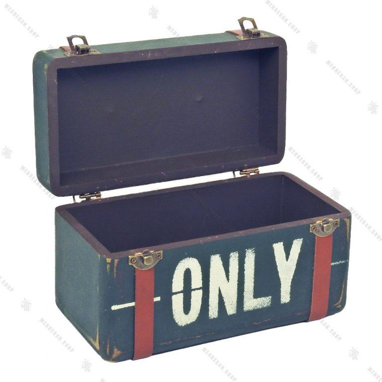 جعبه چوبی بسیار کوچک طرح چمدان سبز سیر