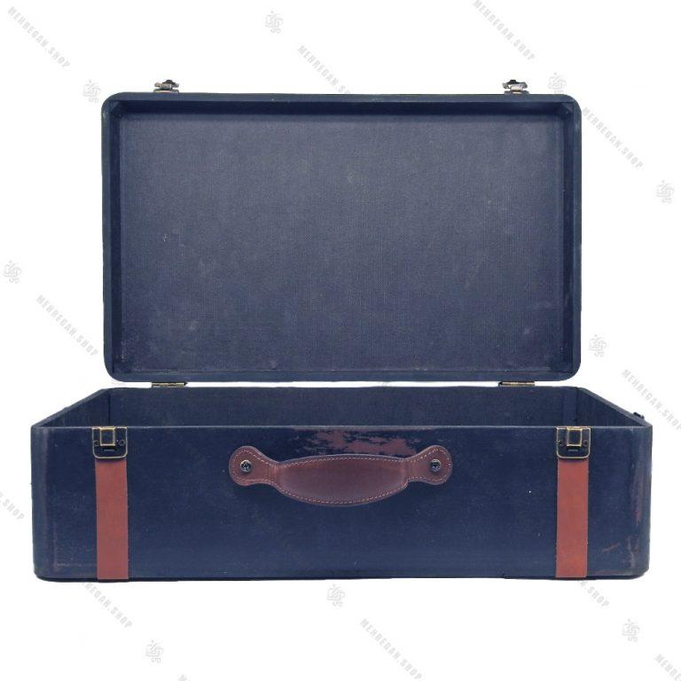 چمدان چوبی دکوری سایز بزرگ سرمه ای طرح کلاسیک