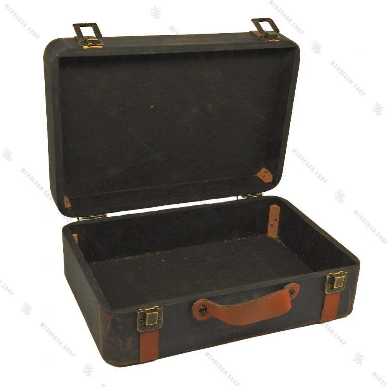 چمدان چوبی دکوری سایز کوچک سرمه ای طرح آنتیک