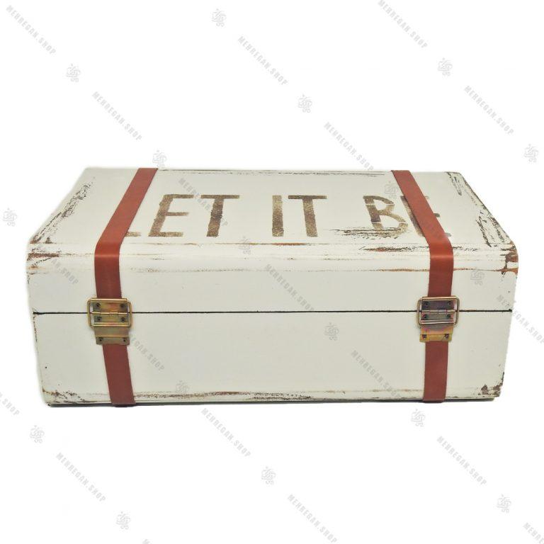 چمدان چوبی سایز متوسط سفید طرح آنتیک
