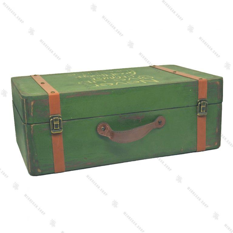 چمدان چوبی سایز بزرگ سبز کله غازی