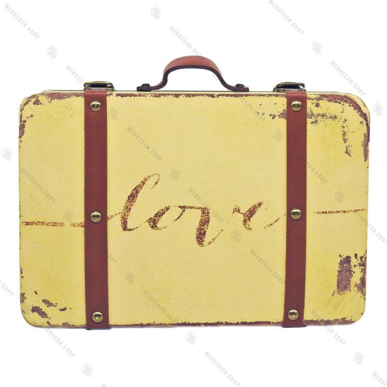 چمدان چوبی دکوری سایز کوچک کرم طرح آنتیک