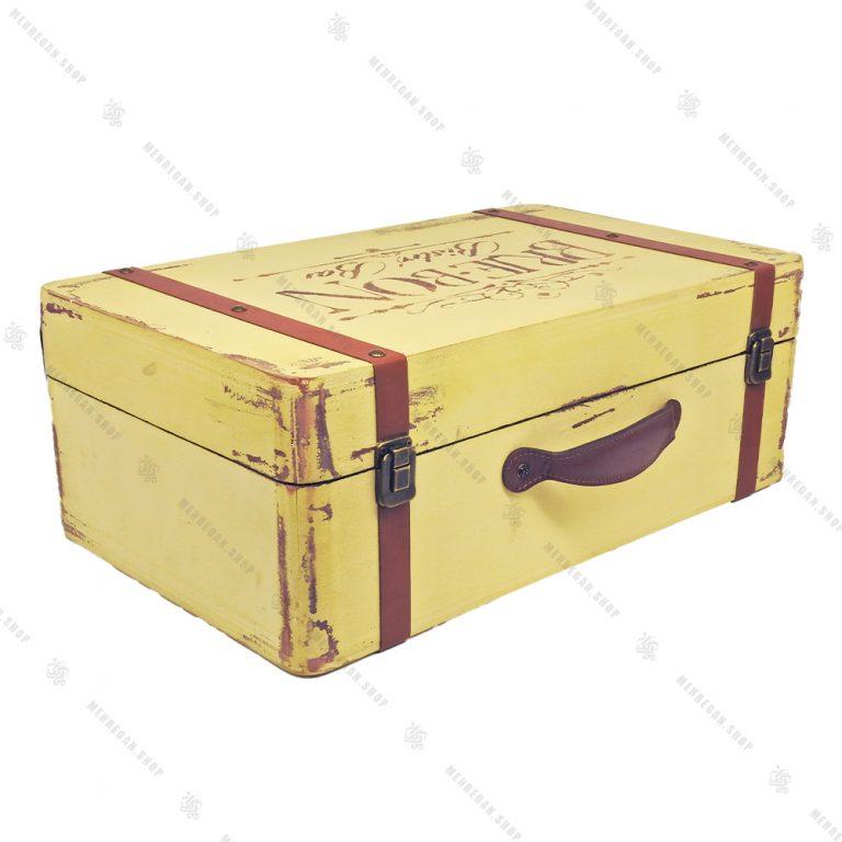 چمدان چوبی دکوری سایز بزرگ کرم طرح آنتیک