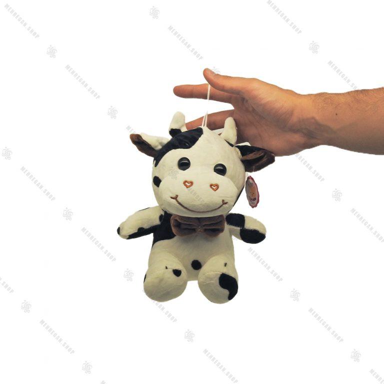 آویز عروسک پولیشی گاو نشسته خال خالی