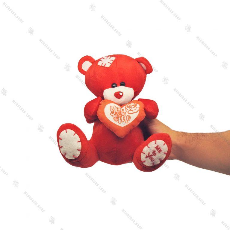 عروسک پولیشی خرس قلب دار قرمز