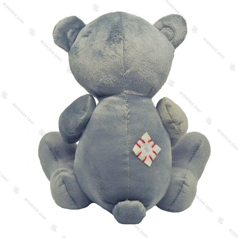 عروسک پولیشی خرس قلب دار طوسی