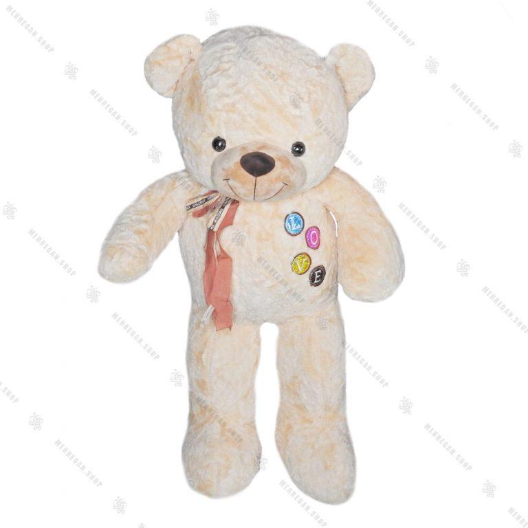 عروسک پولیشی خرس سایز بزرگ کرم