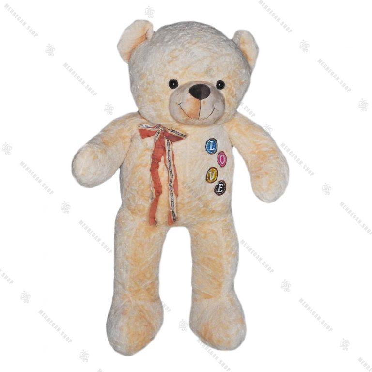 عروسک پولیشی خرس سایز متوسط کرم