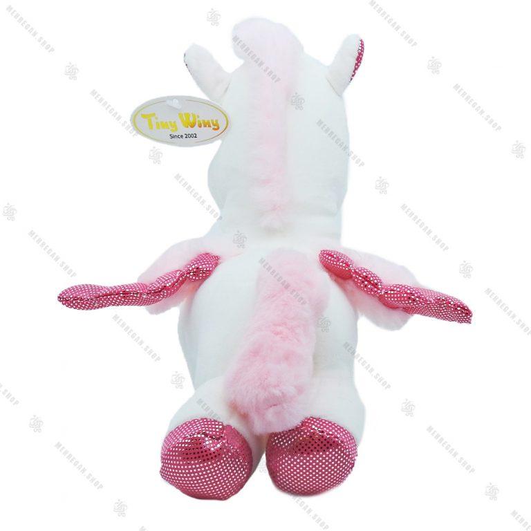عروسک قلب دار یونیکورن طرح خوابیده سفید