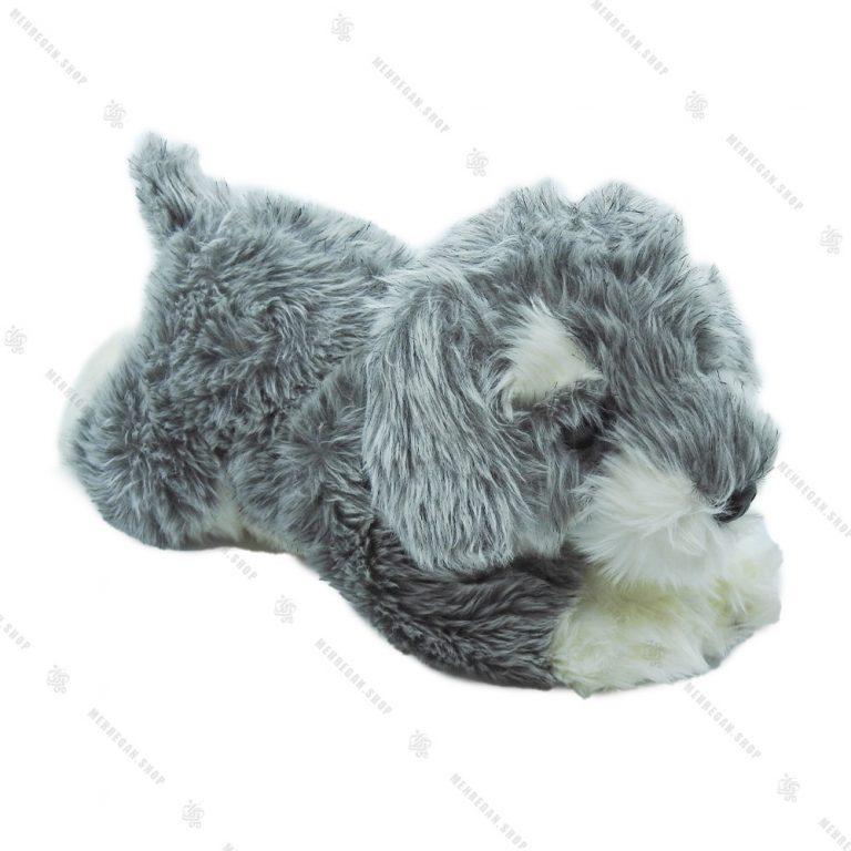 عروسک پولیشی سگ خوابیده فرفری طوسی