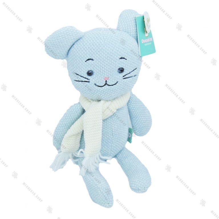 عروسک حوله ای خرگوش شال دار آبی
