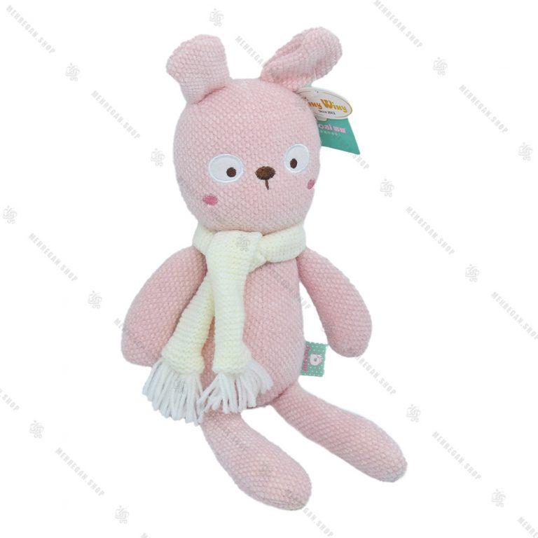 عروسک حوله ای خرگوش شال دار صورتی