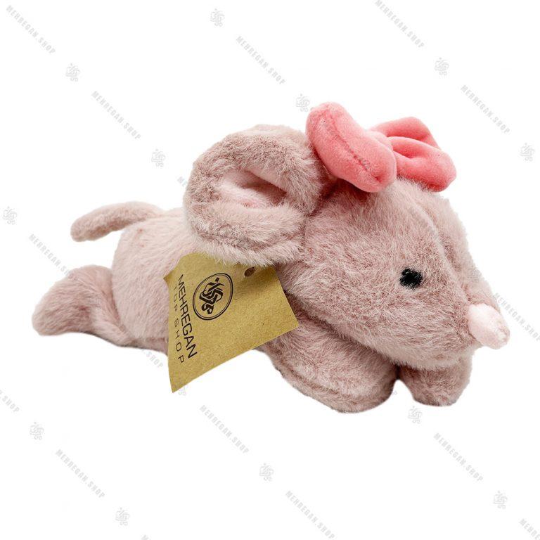 عروسک پولیشی موش پاپیون دار صورتی